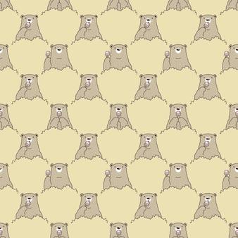 Caricature de caractère ours polaire modèle sans couture