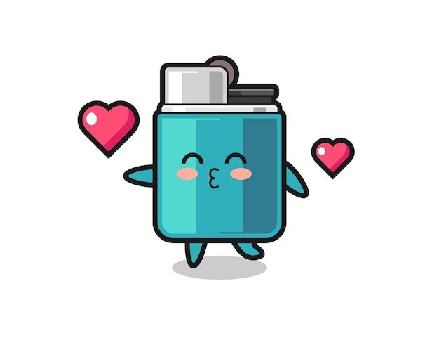 Caricature de caractère plus léger avec geste de baiser, design mignon