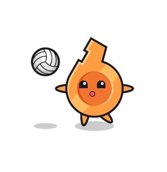 Caricature de caractère de sifflet joue au volley-ball, design mignon
