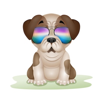 Caricature de carlin chiot mignon dans des lunettes de soleil