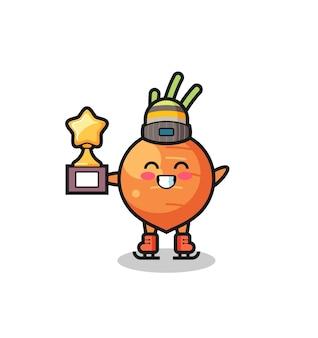 La caricature de carotte en tant que joueur de patinage sur glace tient le trophée du vainqueur, un design de style mignon pour un t-shirt, un autocollant, un élément de logo