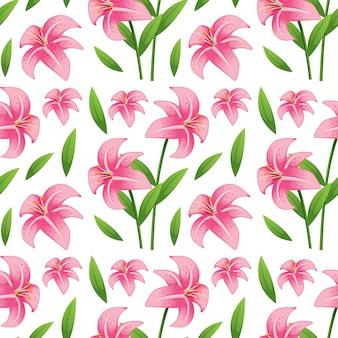 Caricature de carreaux de modèle sans couture avec fleur de lilly