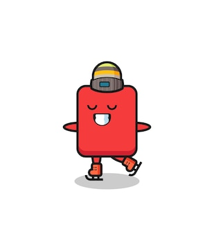 Caricature de carton rouge en tant que joueur de patinage sur glace faisant des performances, design de style mignon pour t-shirt, autocollant, élément de logo