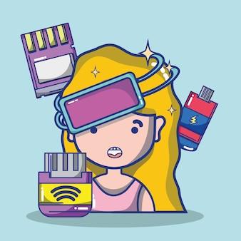 Caricature de casque de réalité virtuelle