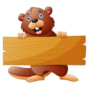 Caricature de castor tenant une pancarte en bois sur fond blanc