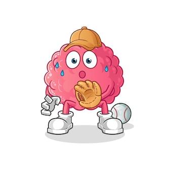 Caricature de catcher de baseball de cerveau. mascotte de dessin animé