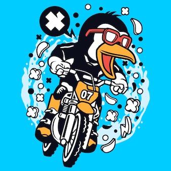 Caricature de cavalier de motocross de pingouin