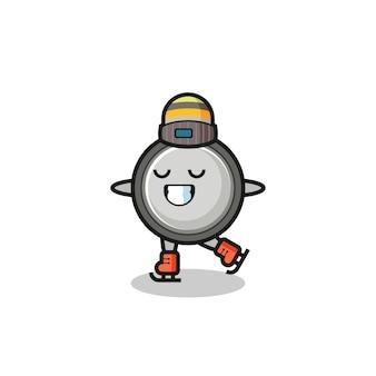 Caricature de cellule bouton en tant que joueur de patinage sur glace faisant des performances, design de style mignon pour t-shirt, autocollant, élément de logo