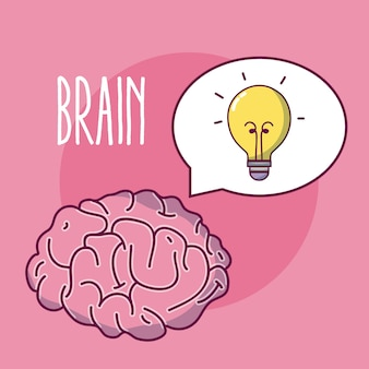 Caricature de cerveau humain sur fond rose