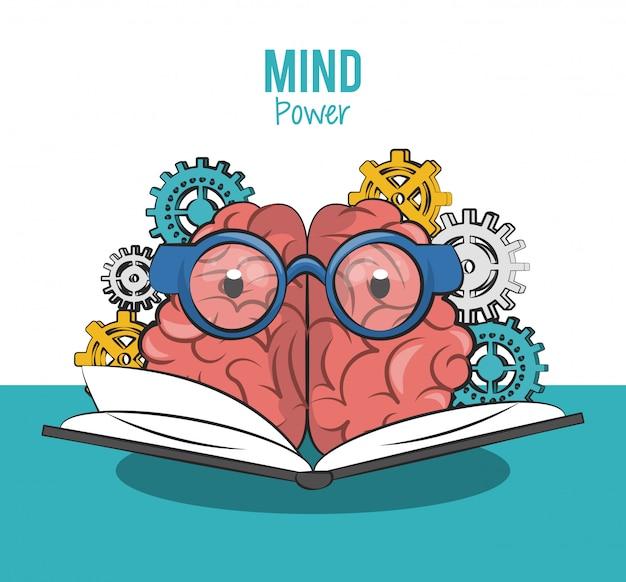 Caricature de cerveau mignon avec des lunettes de lecture d'une conception graphique de livre vector illustration