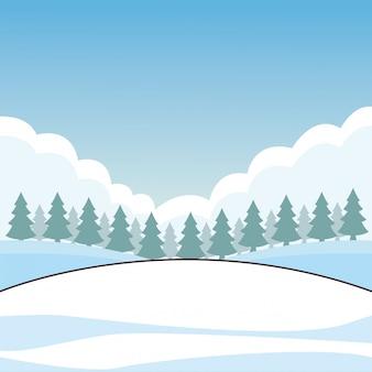 Caricature de champ de neige