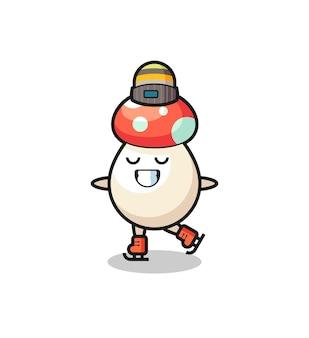 Caricature de champignon en tant que joueur de patinage sur glace faisant des performances, design de style mignon pour t-shirt, autocollant, élément de logo