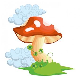 Caricature de champignons crus