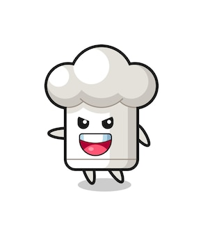 Caricature de chapeau de chef avec pose très excitée, design de style mignon pour t-shirt, autocollant, élément de logo