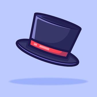 Caricature de chapeau magique. illustration de style dessin animé plat