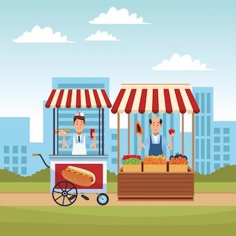 Caricature de chariot de hot-dog