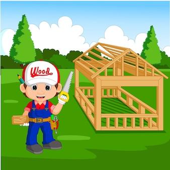Caricature de charpentier professionnel