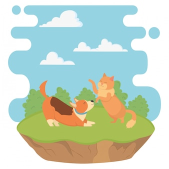 Caricature de chat et chien