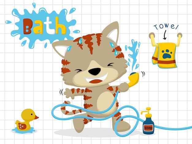 Caricature de chat dans la salle de bain
