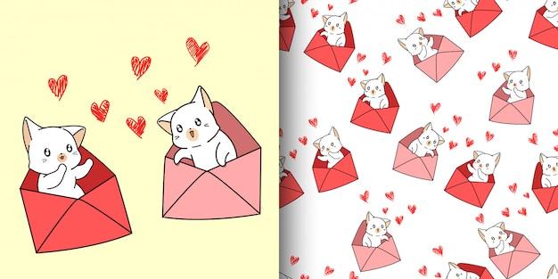 Caricature de chat kawaii modèle sans couture à l'intérieur d'une lettre d'amour