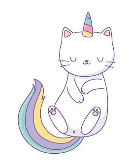 Caricature de chat licorne