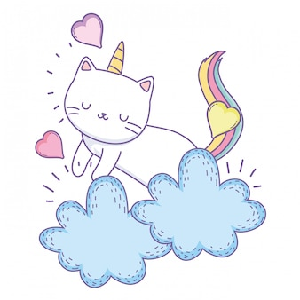 Caricature de chat licorne