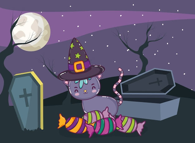 Caricature de chat mignon halloween