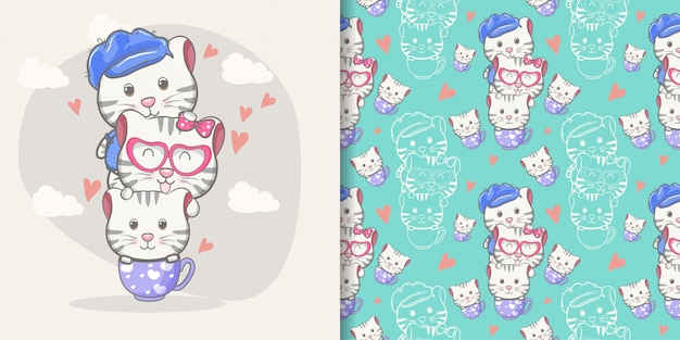 Caricature de chat mignon avec un motif