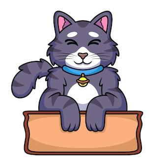 Caricature de chat avec panneau en bois. illustration d'icône animale