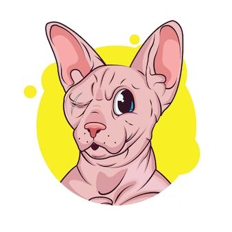 Caricature de chat sphynx