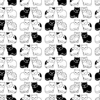 Caricature de chaton modèle sans couture de chat