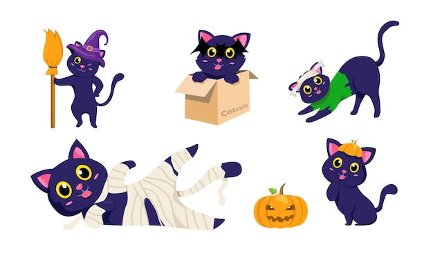 Caricature de chatons noirs d'halloween. ensemble de conception effrayante de chat et de citrouille. illustration vectorielle animal mignon.