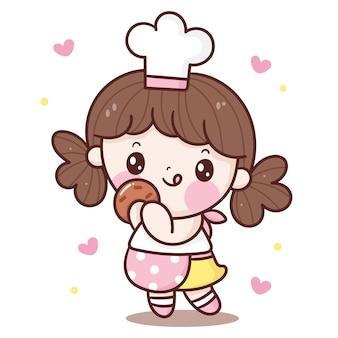 Caricature de chef de fille mignonne mangeant le style kawaii de cookie fait maison
