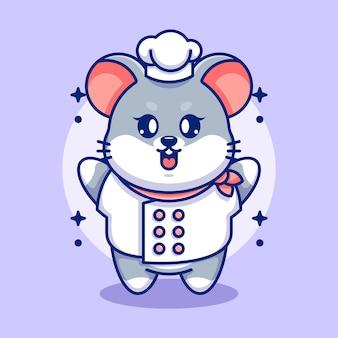 Caricature de chef mignon bébé souris