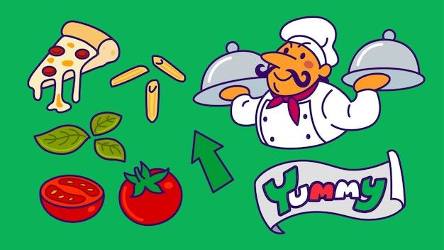 Caricature de chef avec pizza et nourriture jeu d'icônes