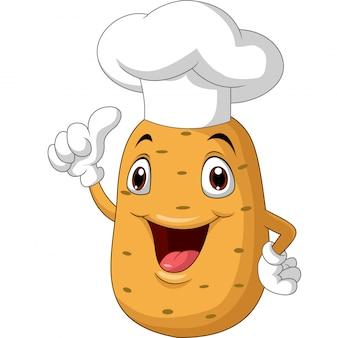 Caricature de chef de pomme de terre abandonnant le pouce