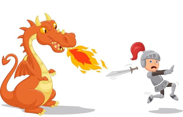 Caricature d'un chevalier qui court d'un dragon féroce