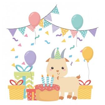 Caricature de chèvre avec joyeux anniversaire