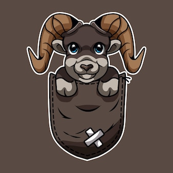 Caricature d'une chèvre mignonne en poche