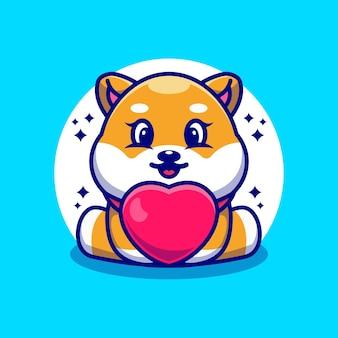 Caricature de chien mignon bébé shiba inu avec amour