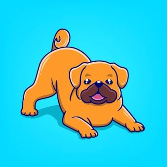 Caricature de chien mignon dessinés à la main posant illustration vectorielle