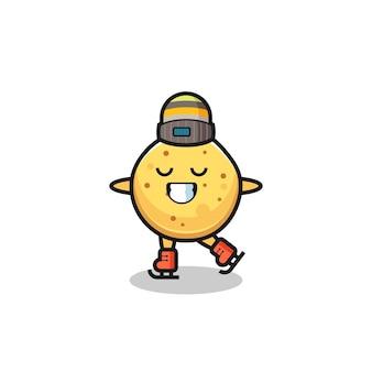 Caricature de chips de pomme de terre en tant que joueur de patinage sur glace faisant des performances, design mignon
