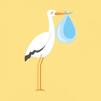 Caricature de cigogne de douche de bébé