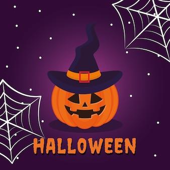Caricature de citrouille d'halloween avec un chapeau et des toiles d'araignées, thème effrayant