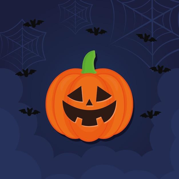 Caricature de citrouille d'halloween avec des chauves-souris et des toiles d'araignées, thème effrayant