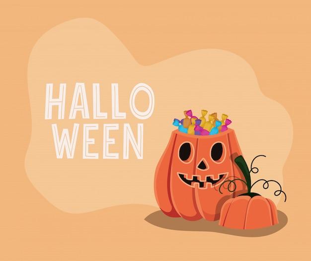 Caricature de citrouille d'halloween avec conception de bonbons, thème de vacances et effrayant