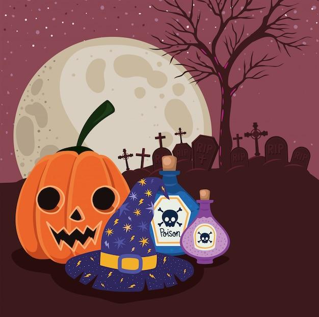 Caricature de citrouille d'halloween et poisons devant la conception du cimetière, les vacances et le thème effrayant