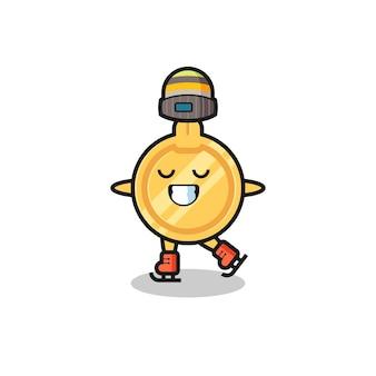 Caricature clé en tant que joueur de patinage sur glace faisant des performances, design mignon