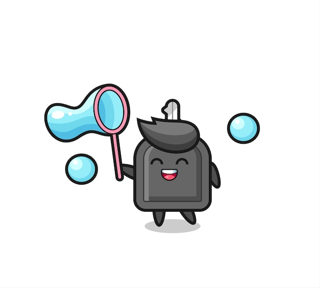 Caricature de clé de voiture heureuse jouant à la bulle de savon, design de style mignon pour t-shirt, autocollant, élément de logo