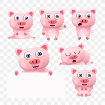 Caricature de cochon avec différentes poses et expressions.